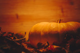 Pumpkin in warm orange light surrounded with fall leaves - 176061627