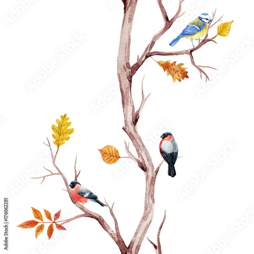 Fall trees and birds pattern