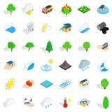 Hard storm icons set, isometric style - 176064064