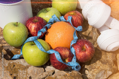 Healthy lifestyle. Summer and diet. Sports nutrition and fruits  © vladorlov