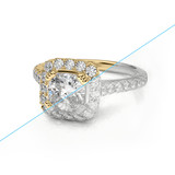 Jewelry engagement diamond gold ring 3D rendering and pencil sketch