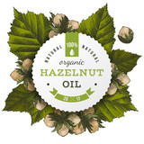 Vector hazelnut oil label - 176065690