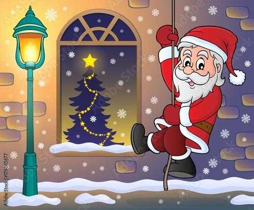 Deurstickers Voor kinderen Climbing Santa Claus theme image 4