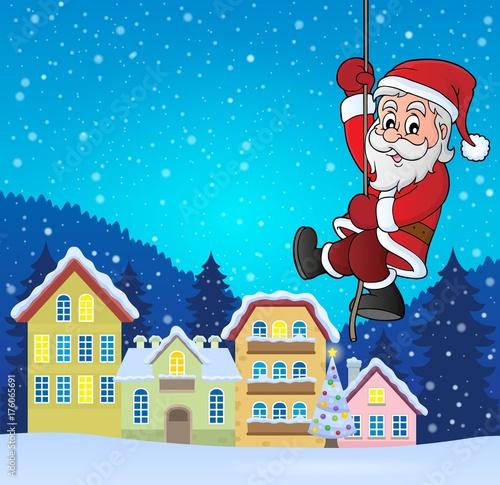Deurstickers Voor kinderen Climbing Santa Claus theme image 5