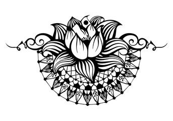 Mandala flower. Decorative oriental element vintage.