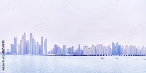 Papiers peints Dubai Dubai waterfront skyline, color toning applied, United Arab Emirates.