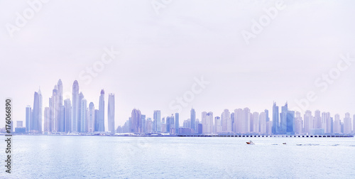Dubai waterfront skyline, color toning applied, United Arab Emirates Poster
