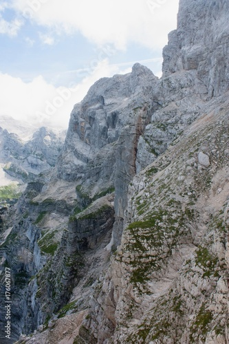 Poster Grijs dangerous mountain path in julian alps slovenia