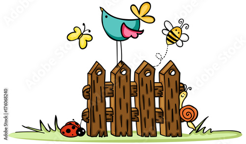 Wooden fence with bird and bugs