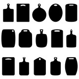 Set of silhouettes of cutting boards, vector illustration