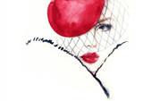 Fashion illustration. Beautiful woman in hat - 176069658