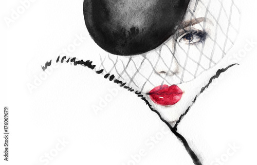 Fashion illustration. Beautiful woman in hat