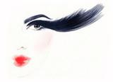 Big lashes. Makeup. Fashion illustration. Beautiful woman face - 176069825