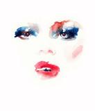 Makeup. Fashion illustration. Beautiful woman face - 176069857
