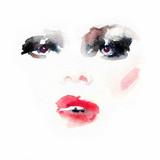 Makeup. Fashion illustration. Beautiful woman face - 176069876