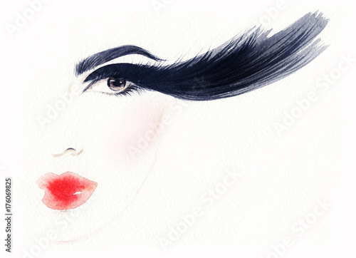 Fotobehang Anna I. Big lashes. Makeup. Fashion illustration. Beautiful woman face
