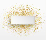 Golden bright sparkles background. Paper white bubble for text. - 176070436