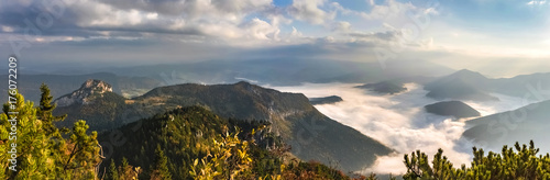 Amazing slovak mountain landscape with low clouds