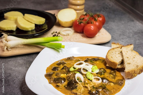Czech traditional food - mushroom goulash