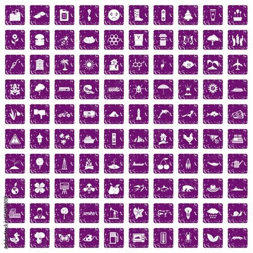 Foto op Canvas Vlinders in Grunge 100 global warming icons set grunge purple