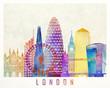 Paris landmarks watercolor poster - 176073223