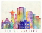 Paris landmarks watercolor poster - 176074269