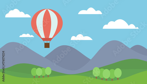 Fotobehang Pool Cartoon view mountain landscape with a red hot air balloon flying in the hills with trees under a blue sky with clouds