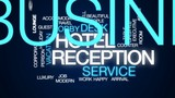 Hotel reception animated word cloud, text design animation. - 176075291