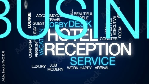 Hotel reception animated word cloud, text design animation.