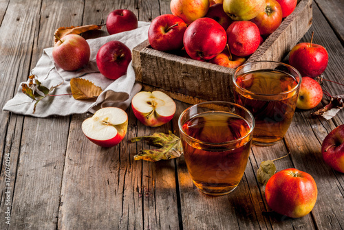 Foto op Canvas Sap Fresh organic farm apple juice in glasses with raw whole and sliced red apples, on old rustic wooden table, copy space