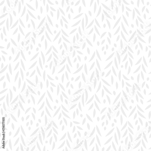 Grey leaves subtle white seamless pattern, vector - 176077005