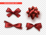 Bows red realistic design. Isolated gift bows with ribbons. - 176079267