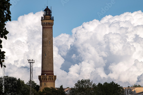 Fotobehang Vuurtoren View of Lighthouse Architecture against Sky in Świnoujście, Poland