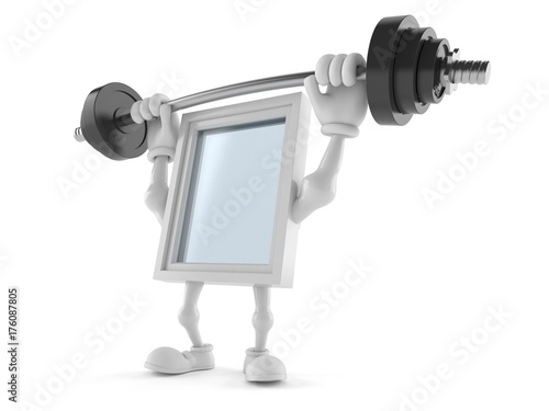 Window character lifting heavy barbell - 176087805