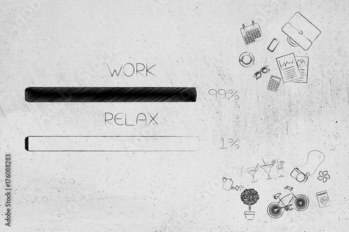 Sticker work and relax percentage bars surrounded by office and leisure objects with work being predominant