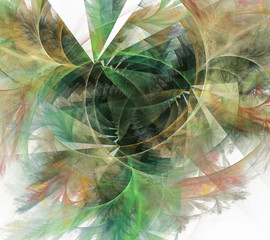 Beautiful fractal background in green tones