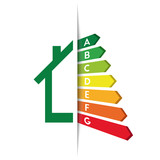 Energy efficiency and rating concept with house and tucked graph bars - 176092010