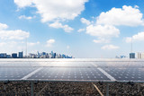 solar panel with cityscape of modern city - 176093835