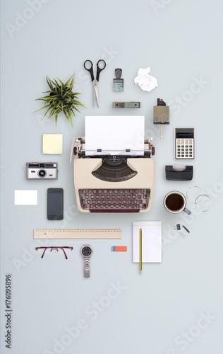 Foto Murales top view retro typewriter office items cloud