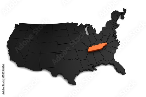 Fototapeta United States of America, 3d black map, with Tennessee state highlighted in orange. 3d render