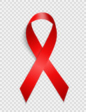 December 1 World AIDS Day Background. Red Ribbon Sign Isolated on Transparent Background. Vector Illustration - 176096457