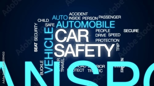 Poster Car safety animated word cloud, text design animation.