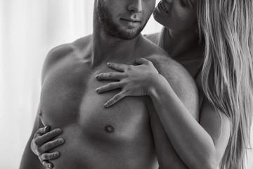 Woman touching her boyfriend