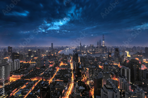 Shanghai cityscape and skyline and sunrise Poster