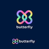 Butterfly logo. Love emblem. Dating website logo. Cosmetic logo. Two colorful twisted hearts on a dark background.
