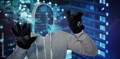 Composite image of robber with hood and gloves - 176105202