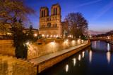Notre Dame de Paris cathedral at dawn with the Seine River. Daybreak in the 4th Arrondissement, Ile de La Cite, Paris, France - 176105422