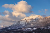 Winter morning light on the mountain of Charance near the city of Gap. Hautes-Alpes, Southern French Alps, France - 176105459