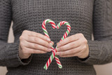 Heart made of candy cane - 176107433