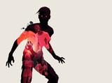 Fleshing eating dead zombie silhouette. Vector illustration - 176107491